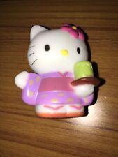 """Sanrio Hello Kitty 2"""" Pvc Plastic Figure Cake Topper in Kimono holding Tea Cup"""