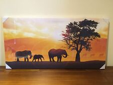 Safari Sunset Wall Canvas Print/Picture/s Set of 4 Elephants/Giraffes SML FAULTS