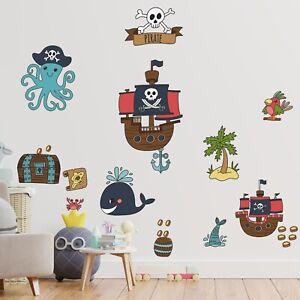 PIRATEN Wandtattoo Wandaufkleber Aufkleber Babyzimmer Kinderzimmer Piratenschiff