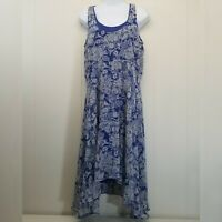 Cabi MEDIUM Willow Double Dress Blue Floral Sleeveless Asymmetrical Hem 851