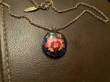 Vintage Cloisonne Enamel Pendant Necklace With Flowers and A Butterfly