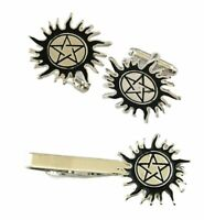 Supernatural Pentagram Logo Enamel Metal Cufflinks and Tie Clip Set