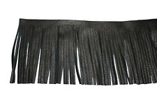 Black leather Fringe Motorcycle Floorboards Trim Seats Saddlebags By The Foot