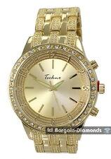 big manly gold tone white CZ ice out bezel clubbing watch Techno bracelet