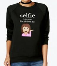 Freeze 24-7 Juniors' Selfie Emoji Graphic Sweatshirt BLACK Size XS