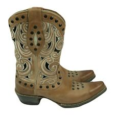 $270 Ariat Paloma Cowboy Leather Tan Cut Out Women Boots 6.5 B