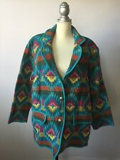 Womens Southwest Aztec Plus Size 1X Jacket Indian Blanket Colorful 100% Cotton