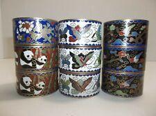 Vintage Chinese Enamel Cloisonne Napkin Rings Lot Of 9 Pandas Butterflies Birds