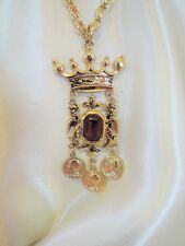 REGAL VINTAGE CORO PENDANT NECKLACE*WITH ORIG. FOIL TAGS! DRAMATIC*DANGLING!
