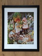 Summer Sewing - Anne Johnstone -frame 20''x16'', vintage childrens poster