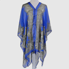 WOMEN'S COBALT BLUE CHIFFON BEACH COVER UP TOP, ONE SIZE, PAISLEY PATTERN