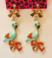 Betsey Johnson Crystal Rhinestone Enamel Flamingo Post Earrings