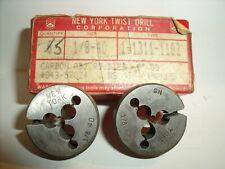 "New listing 2 pc Lot 1/8-40 Ns 1"" New York Twist Round right-hand Adjustable Thread Dies Usa"