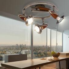 Deckenstrahler rund Spotleiste Deckenlampe Holz Altmessing Antik Design Leuchte