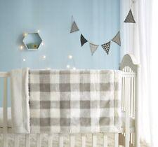 Parent's Choice Faux Fur Baby Blanket, Grey Plaid NWT