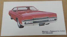 1970 MERCURY MARAUDER 2DR ACTION PROMO SHOWROOM POSTCARD CARD DEALER DEALERSHIP