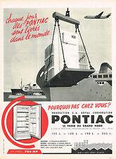 PUBLICITE ADVERTISING 1960   PONTIAC   réfrigérateur