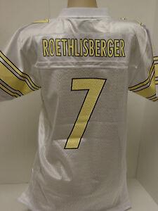 Girls Kids Youth Sz XL (16) Reebok Steelers Roethlisberger #7 Yellow NFL Jersey