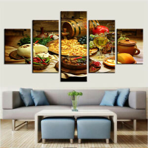 Modular Posters Pictures 5 Pieces Food And Drinks HD Printed Canvas Wall Art
