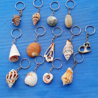 Natural Sea Conch Shell Charm Pendant Keychain Key Ring Handmake Crafts Jewelry