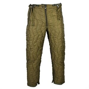 Genuine German army quilted pants liner trousers inner warmer thermal winter OD