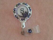 Personalized Purple Butterfly card reel/ id badge holder for nurses, teachers...