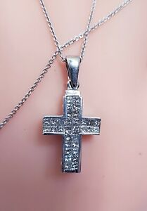 "18kt White Gold 2.25ct Diamond Cross Princess Diamonds G VS 18"" Chain"