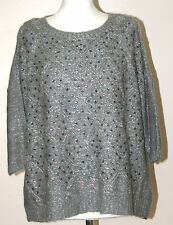 M&CO (LARGE / UK16 / EU44) GREY SEQUIN FRONT SHORT SLEEVE LOOSE FIT JUMPER - NEW