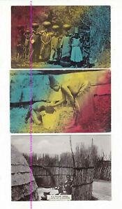 3 x ZULU NATIVES Water Carriers, Compound Vintage postcards SOUTH AFRICA  c1900s