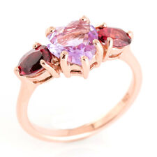 100% NATURAL 8MM PINK AMETHYST RHODOLITE ROSE GOLD & SILVER 925 RING SIZE 7