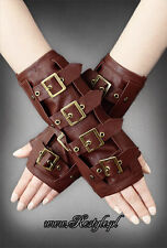 Restyle Brown Steampunk Bucklers Goth Punk Emo Scene Arm Warmers Gloves