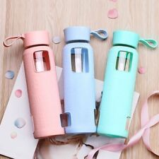 Glass Bottle Silicone Anti scald Candy Color Creative Flask with Portable Handle