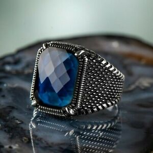 Solid 925 Sterling Silver Faceted Blue Zircon Stone Men's Ring with Claws