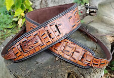 Genuine Leather Premium Cognac Gator Embossed Cowhide Banjo/Dobro  Strap