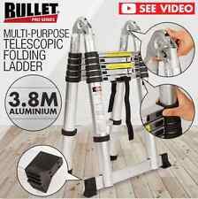 NEW 3.8M 150KG FOLDING LADDER MULTIPURPOSE TELESCOPIC ALUMINIUM EXTENSION STEPS