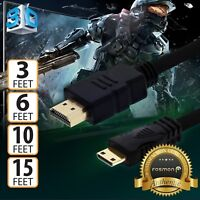 High Speed 3 6 10 15 FT HDMI to MINI-HDMI Cable Adapter for Nikon Canon DSLR