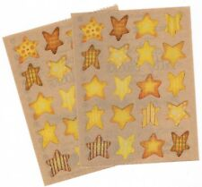 2 Sheets Provo Craft Yellow and Gold Patterned Stars Scrapbook Stickers