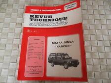 REVUE TECHNIQUE MATRA SIMCA RANCHO depuis 1977