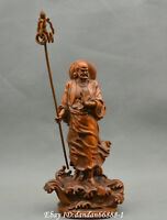 Collect China boxwood Hand carved Crossing river Dharma Patriarch Buddha statue