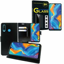 Huawei P20/ P30/ P40/ Lite Cover Wallet Case Leather Tempered Glass Window