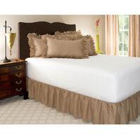 "Tailored Bed Skirt Solid 600 TC Cotton Split Corner Length 15/"" 16/"" 17/"" inch"