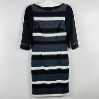White House Black Market Size 2 Striped Ponte Knit Sheath Dress Black Gray White