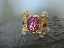 TAGLIAMONTE ~ 18K Gold Ring W/ Venetian Intaglio  *Pearls * Rubies*Reg $1400