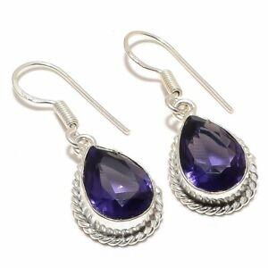 "Amethyst Gemstone Handmade Ethnic Silver Jewelry Earring 1.6"" RJ3292"
