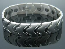 MEN'S WOMEN'S TITANIUM  LARGE 5 in ONE BIO MAGNETIC BRACELET SILVER TONE