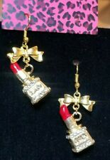 Betsey Johnson Red Enamel And Crystals Gold  Lipstick Dangle Hook Earrings