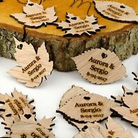 Personalised Wooden Leaf Table Decorations. Rustic or Vintage Wedding Favours.