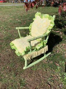 Rare Vintage Kid's Rocking Chair Lemon Lime Damask Cover Fringe 26/16 ❤️sj5m1s