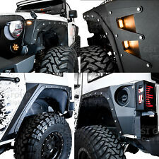 Body Armor Front+Rear Fender Flares+Corner Guard+6x LED 07-18 Jeep JK Wrangler