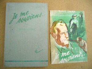 Georges SIMENON : Je me souviens illustrations de Jean RESCHOFSKY 1945 / 1 ère é